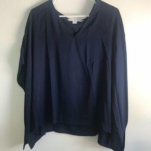 Diane Von Furstenberg Navy Silk Tunic Top - size M